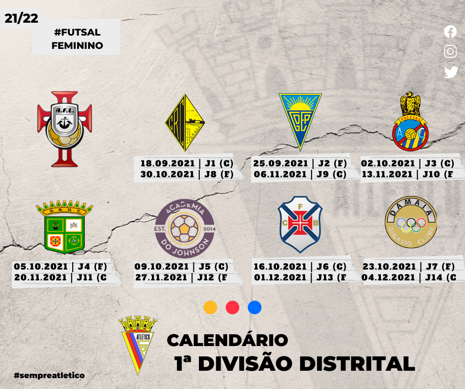 Futsal Feminino - Calendário 2021/22