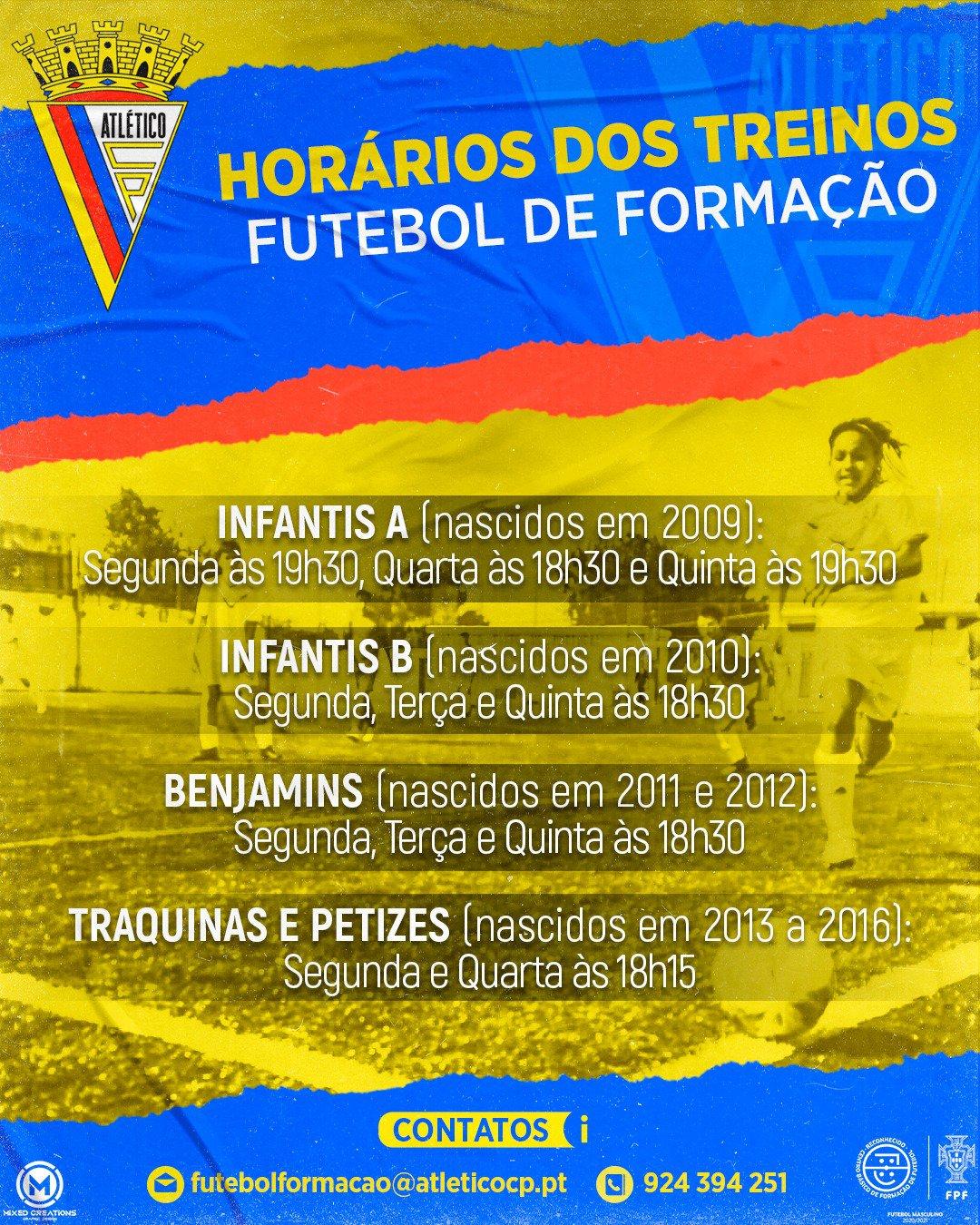 Futebol Formação - Horários