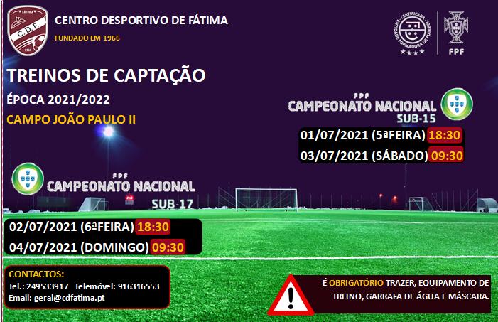 Treinos de Captação Sub-15 e Sub-17 (Futebol de Formação)