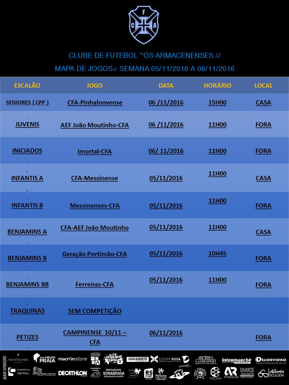MAPA DE JOGOS DO FIM-DE-SEMANA DE 5 E 6 NOV