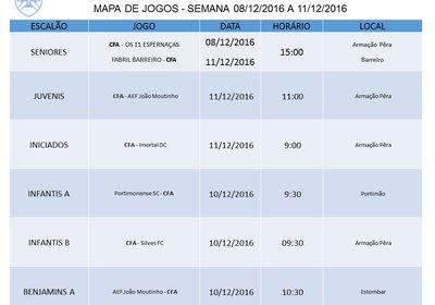 MAPA DE JOGOS - SEMANA 08/12/2016 A 11/12/2016