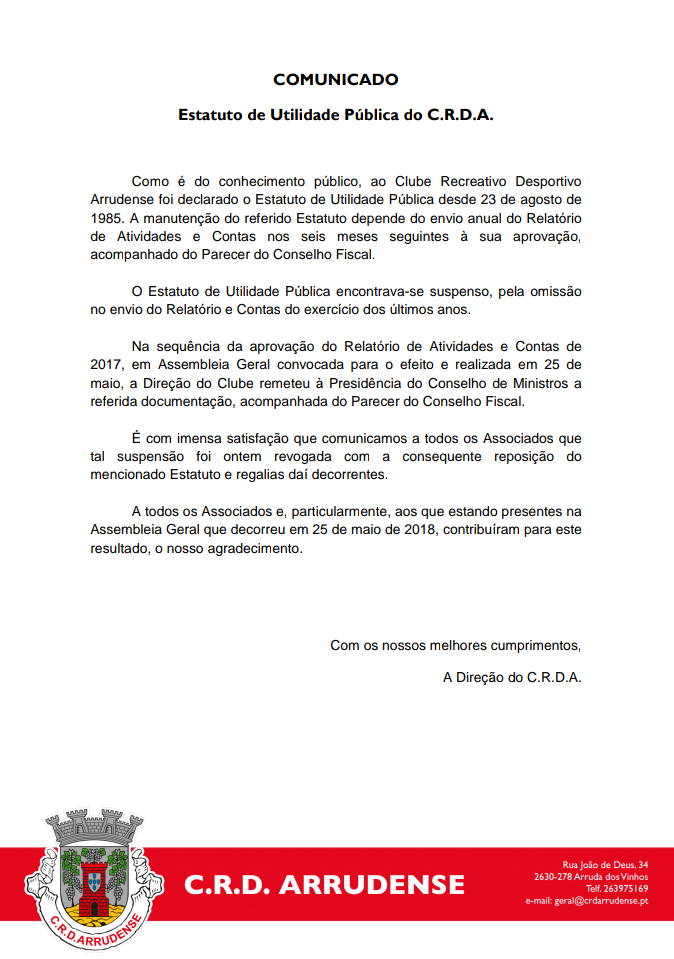COMUNICADO - Estatuto de Utilidade Pública do C.R.D.A.