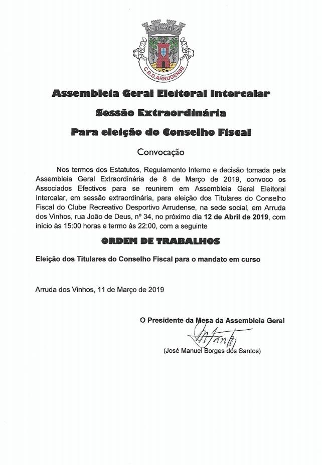 Assembleia Geral Eleitoral Intercalar - Convocação