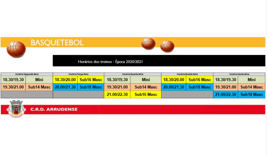 Horários Basquetebol 2020/2021