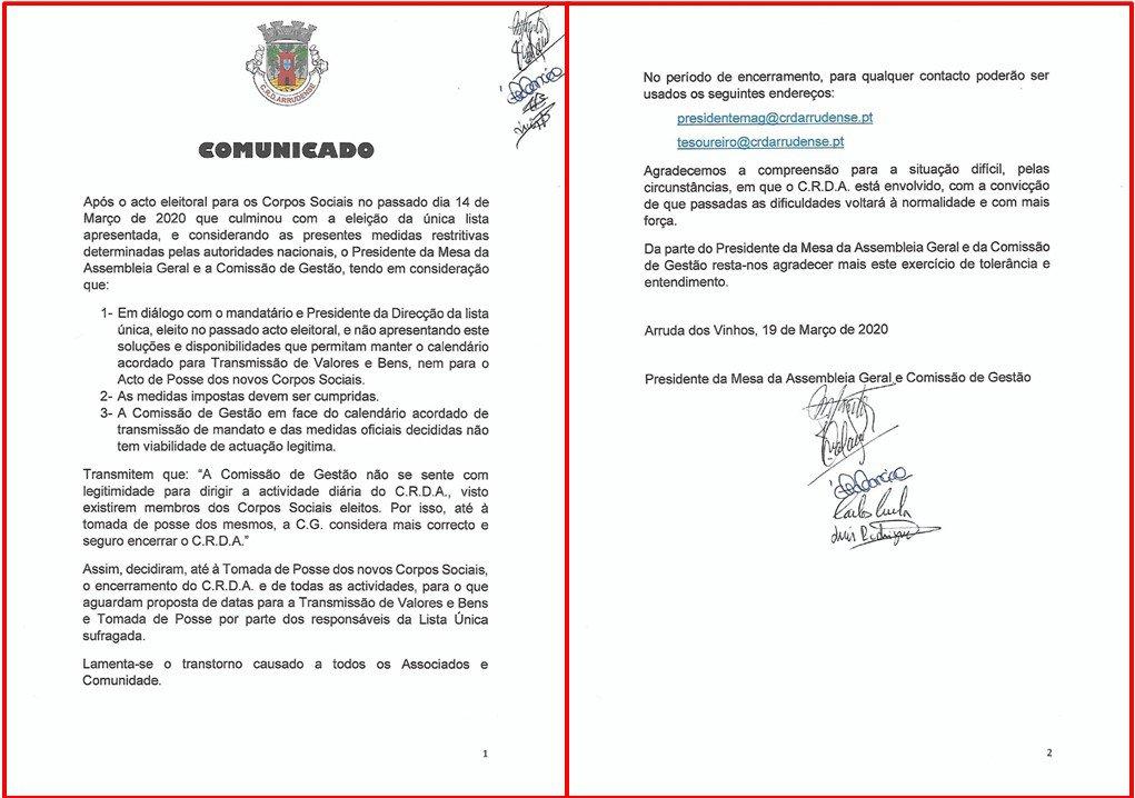 Comunicado Encerramento CRDA