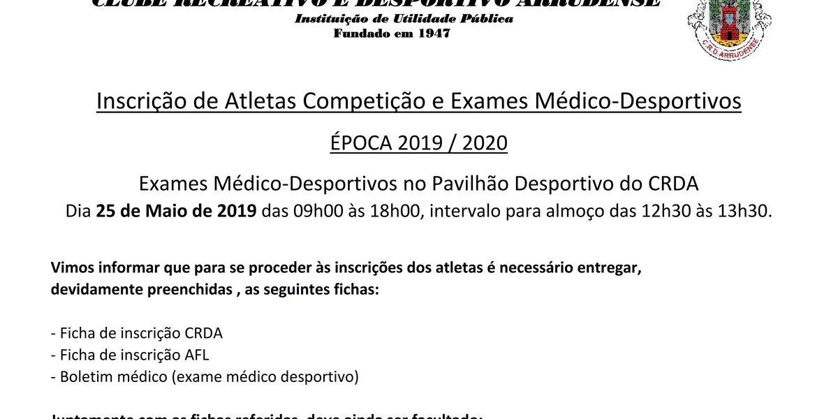 Inscrições Futebol Época 2019-2020