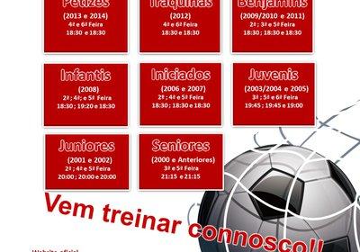 Horários provisórios dos treinos de Futebol