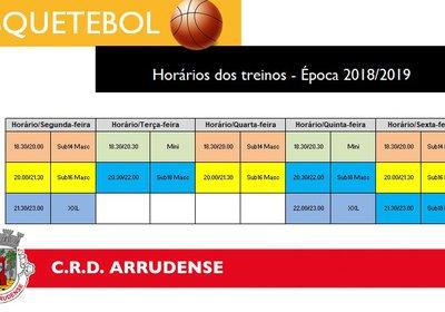 Horários de treinos de Basquetebol - consulte aqui