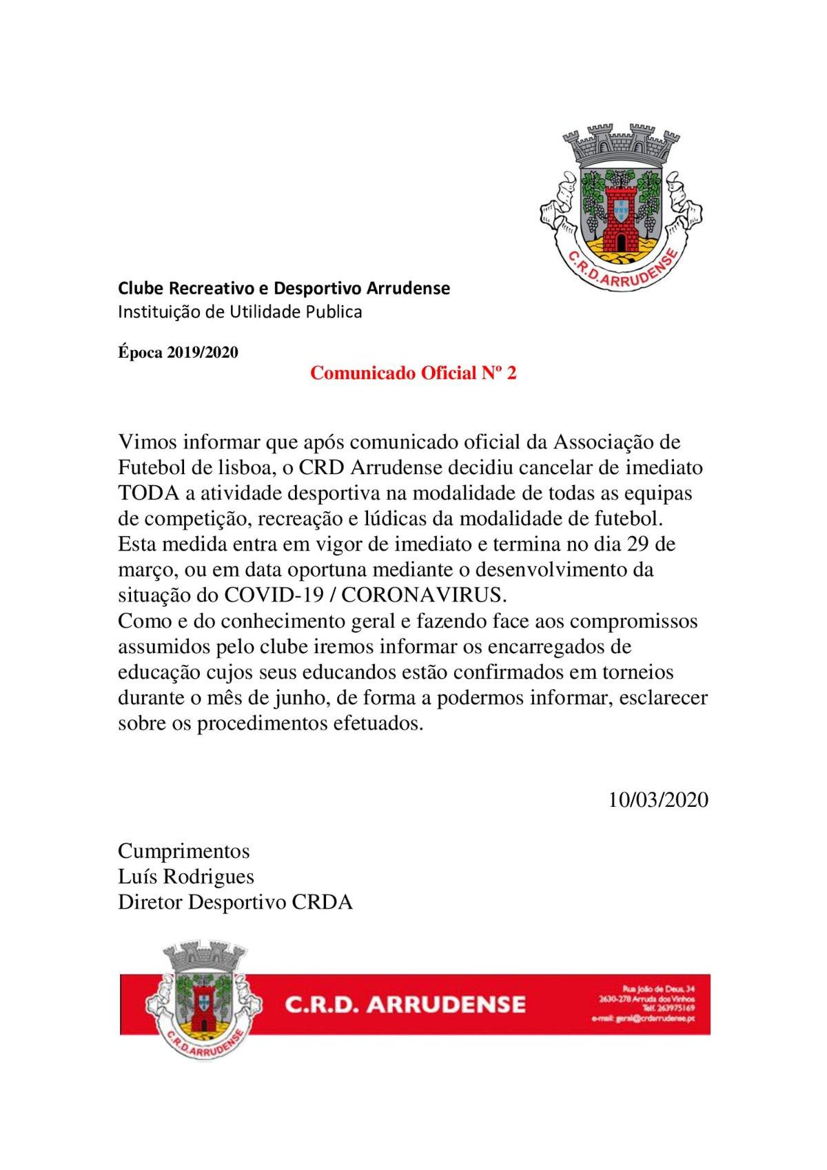 SUSPENSÃO DE ATIVIDADES DESPORTIVAS