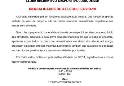 COVID-19 | Mensalidade de Atletas