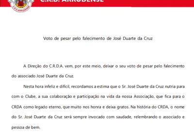 Voto de pesar pelo falecimento de José Duarte da Cruz