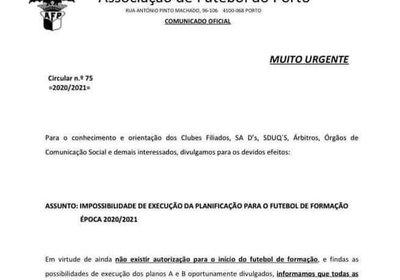 Comunicado AF Porto Futebol Formação