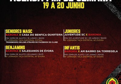 AGENDA FERIADO E FIM DE SEMANA 19 A 20 DE JUNHO - FUTSAL