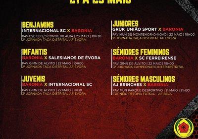 AGENDA FIM DE SEMANA 21 A 23 DE MAIO - FUTSAL