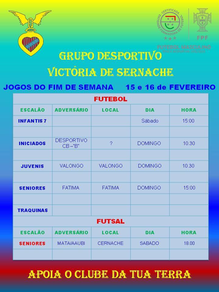 FIM DE SEMANA 15 E 16 FEVEREIRO