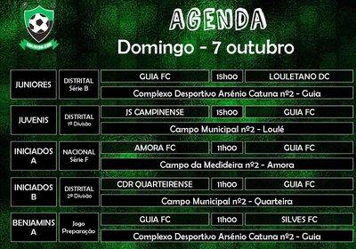 Agenda de jogos para domingo - 7 outubro