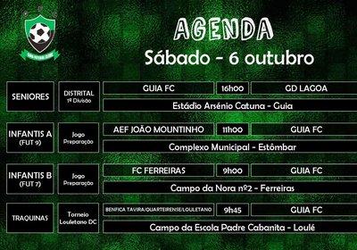 Agenda de jogos para sábado - 6 outubro