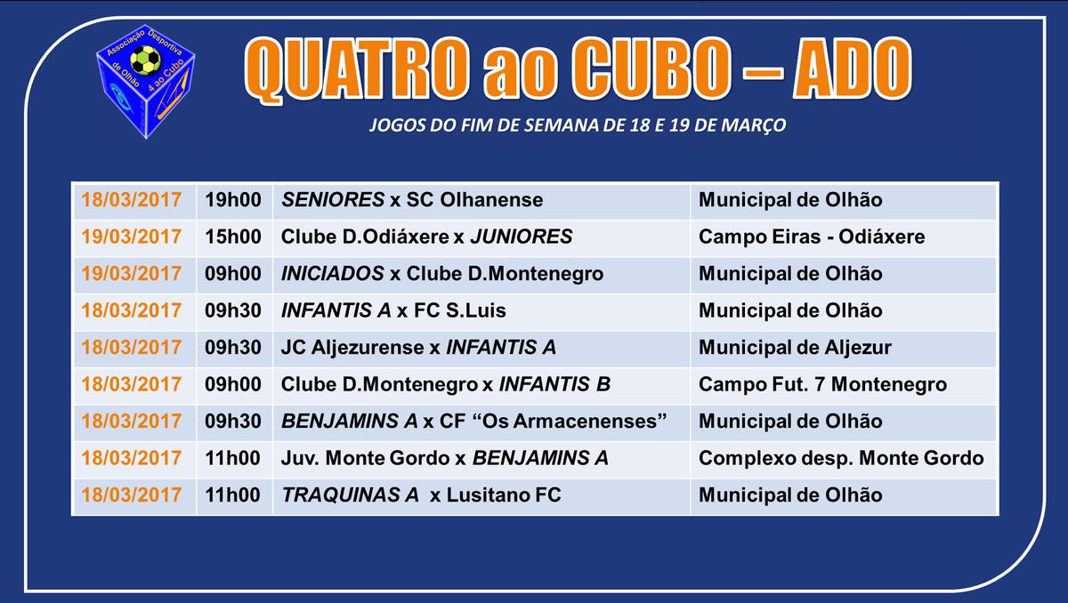 Calendário de Jogos do fim‑de‑semana de 18 e 19 de Março