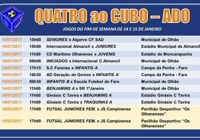 Calendário de Jogos do fim‑de‑semana de 14 e 15 de Janeiro