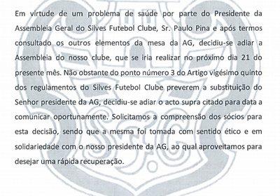 Comunicado Silves FC