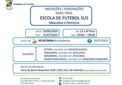 Inscrições na Academia do Sintrense 2020/2021