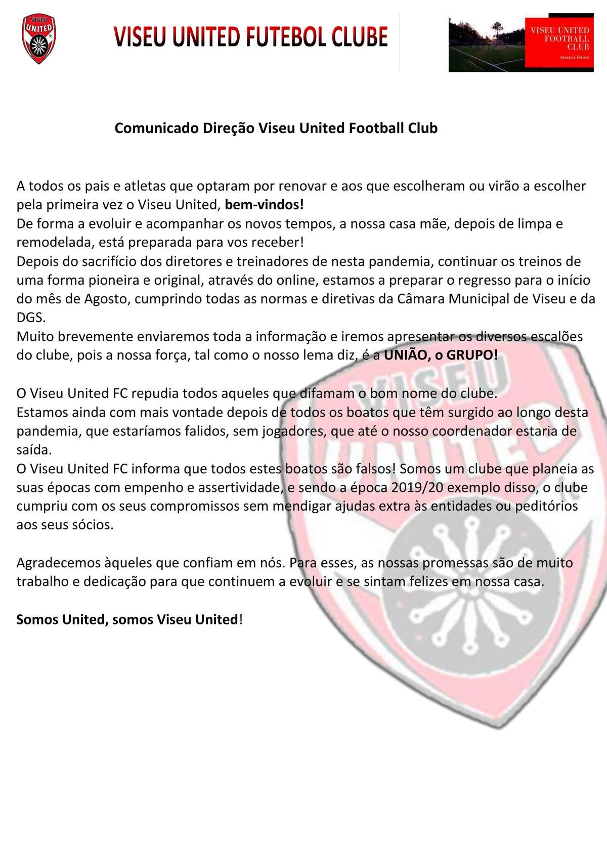 Comunicado Direção Viseu United Football Club
