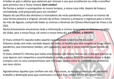 Comunicado Direção Viseu United Football Club